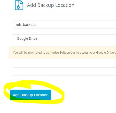 ¿Cómo agregar Google Drive como tu ubicación de BACKUP en Softaculous? 3