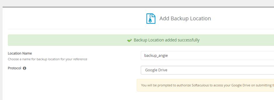 ¿Cómo agregar Google Drive como tu ubicación de BACKUP en Softaculous? 4